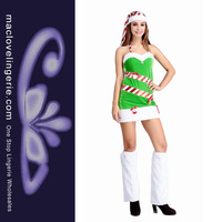 ML8066 Free Drop Shipping New Arrival Female Santa Costume Green White Women Festival Fancy Dress Sexy Costumes For Christmas