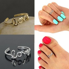 Love Letter Adjustable Opening Finger Ring Women Girls Ancient Silver/Gold Color Toe Ring Party Fashion Jewelry