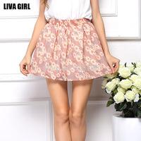 New Arrival, HOT! Women's fashion chiffon Skirt, Lady's casual floral chiffon skirts, Women's Colorful Beach Mini Skirt
