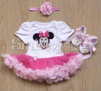 3pcs/lot Muti-design Baby Minnie 0-12M Pettiskirt (Bodysuit+Crib Shoes+Headband) 0920 sylvia 36871022001