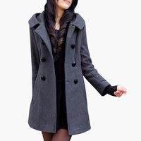 Women Coats Winter Fashion 2015 , Solid Color Hooded Slim Korean Women Medium-Long Wool Overcoat Big Size xxxl Free Shipping