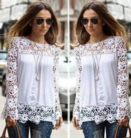 Plus Size 2014 New Women's Shirts White Crochet Lace Shirt Female Floral Lace Long Sleeve Chiffon Blouse Lace Blusas Tops S-5XL