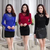 plus size clothing slim top female long-sleeve plus velvet thickening lace basic shirt