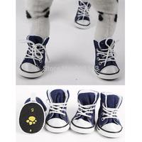 Free Shipping! 4pcs/lot Pet Dog Cat Footwear Dog Walking Sneaker Jeans Shoes Denim Dog Shoes