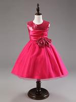 2014 summer children kids girls red / pink sleeveless tank tutu dress retail baby girls   bowknot dresses 1pc free shipping