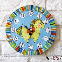 Retro Canvas Cartoon Cute  Horse baby's room Needle Round Lock Wall art hang Quartz Art Clock Picture