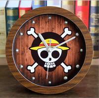 Retro Cartoon Piece Sailing Adventure Wood Round Desk Table Clock Alarm clock  Creative Alarm Clocks When Sitting Continental