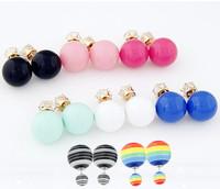 Fashion Brand Candy Double Balls Stud Eearrings for Women Mujer Gem Brincos Pendientes Brincos Grandes de festa Accessories