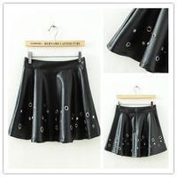 Free shipping autumn/winter 2014 punk style new ladies beaded hole handmade rivet women's PU leather skirt