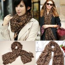 2014 New Women Fashion Long Style Wrap Lady Shawl Leopard Chiffon Scarf Scarves Stole