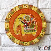 Retro Canvas Cartoon Cute  yellow elephant baby's room Needle Round Lock Wall art hang Quartz Art Clock Picture