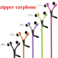 High Quality 3.5mm Jack Stereo Bass In Ear Metal Zipper Earphones Headphones with Mic for iPhone iPad iPod Samsung,Free Shipping