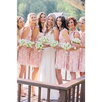 New Designer Short Elegant Pink White Lace Bridesmaid Dresses Party Dresses Bridesmaid Gowns Under  $120 Cheap