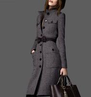 2014 autumn and winter women woolen outerwear ultra long paragraph woolen overcoat lengthen trench slim trench