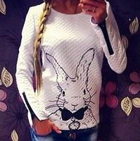 2014 Women Hoodies Zipper Spring Autumn Long Sleeve Women Casual Sweatshirt Women Rabbit Printed Hoodies Pullover LJ138DB