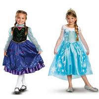 New 2014 Girl Frozen Anna Elsa Dress Kids Disfraz Baby Girls Fashion Summer Princess Toddler Dresses Long Sleeve Cartoon Vestido