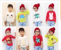 New 2014 t-shirts, cotton long sleeve children t shirts, cute animal cartoon t-shirt, candy color bottoming t shirt
