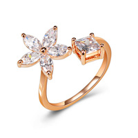 Fashion flower finger rings for women gold plated charm wedding jewelry accessories
