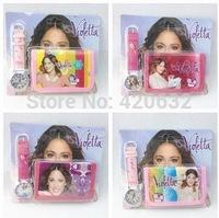 Hot violetta child watches purse and wallet Set violetta Nishizawa cartoon girl cartoon watch + Wallet 2in1 Kit