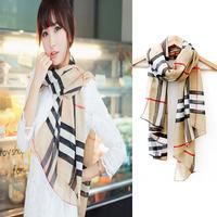 Women Fashion Grid Chiffon Long Style Soft Wrap Shawl Scarf Classic Scarves 1pc New