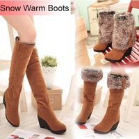 2014 Women Warm Snow Boots Winter Shoes Wedges High Folding High Heels Draw Thermal Winter Boots Female Knee High Boots