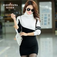 autumn and winter women's turtleneck sweater medium-long sweater basic shirt heap turtleneck elastic slim women's