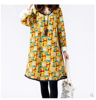 2014 autumn&winter dress women new Korean style plus size woman dress animal printed long sleeve o-neck loose casual dresses
