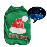 LED light up Santa hat pattern pet puppy Christmas dog apparel warm pet dog vest winter warm pet autumn winter clothes