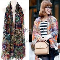 Free Shipping Women Chiffon Print Scarf Silk Long Neck Shawl Wraps Fashionable Design Ladies 4 Colors Pashmina