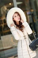 2014 New Fashion Winter Women Down Cotton Long Slim Fur Collar Hooded Coat Jacket Parka