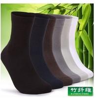 (5Pairs/Lot)Wholesale Male bamboo fibre socks slip-resistant knee-high socks Men hot-selling men's socks