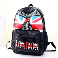 NEW USA fashion PU backpack cute student knapsack UK London PU backpacks schoolbag British london tower shoulder bag