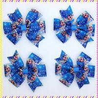 3.1'' Free shipping frozen elsa Ribbon Bows with hair clip headband headwear hairbow diy decoration wholesale OEM P3471