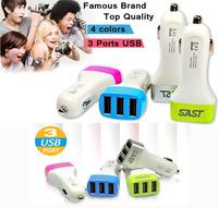 TOP Quality Brand 3 USB PORT Fashion USB Adapter Car Mini Charger / Cigar Socket Car USB Port Iphone phone /Ipad Car USB Charger
