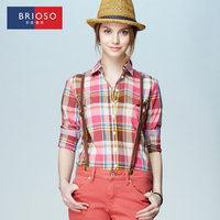 Brioso2014 autumn shirt female long-sleeve 100% cotton plus size clothing quality plaid shirt XXXL14111601