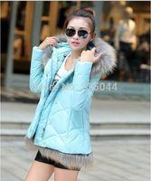 2014 New Fashion Winter Women Down Cotton Long Sleeve Long Slim Fur Collar Hooded Coat Jacket Parka