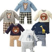 Baby long sleeves romper cotton jumpsuits bear elephant bodysuit toddlers carters baby boy clothes roupas de bebe KR038