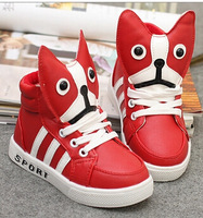 21-35 Boys Shoes Girls Shoes puppy eyes boy casual shoes high-top sneakers 2014 autumn new children's cartoon shoes
