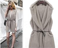 9785 2014 Winter Coat Women Slim Plus Velvet Vest Casual sleeveless vest thick fur coat with belt