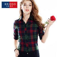 Brioso plaid shirt female long-sleeve 2014 autumn outerwear plus size clothing shirt top XXXL14111604
