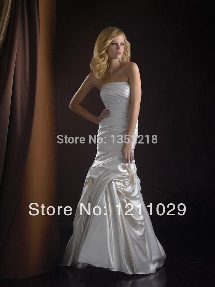2015Free shipping elegant stock slim wedding dresses 2015,sheath ruched satin bridal gownFree Shipping(China (Mainland))