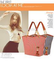 2014 new handbags fashion casual striped canvas large capacity canvas shoulder chain handbag factory wholesale