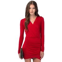 Hot New Slim Mini Long Sleeve V-neck Work Office Dress 2014 Sexy Lady Package Hip Plus Size Vestidos Femininos 1459