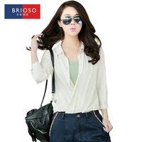 Brioso2014 autumn white chiffon shirt female half sleeve plus size shirt women's top 14111608