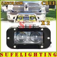 Free Shipping NEW Projector 5'' 2pcs*10W 20W CREE LED Light Bar Offroad Work Light Bar For Truck 4X4 SUV Car Driving Light 40W