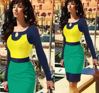 2014 New Summer Women's Elegant Victoria Style Yellow Green Blue Color Patchwork Slim Pencil Dresses,Free Shipping