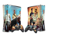 New Fashion 2sets/lot Grand Theft Auto 5 GTA 5 Decal Skin Sticker For Xbox360 Slim Console+2Pcs Stickers For Xbox 360 Controller