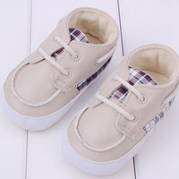Christmas Gift New Baby Genuine Leather Gingham Flat Shoes Non-slip Soft Cotton Soles Baby First Walkers Wholesale Free Ship