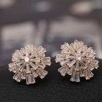 Top Luxury  18K gold plated Zircon Snowflower  Wedding Stud Earrings Fashion jewelry nickel free ,Best gift  free shipping