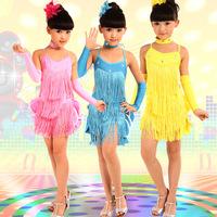 New 2014 Girls Kids Children Rhinestone Fringe Dress Cocktail Salsa Samba Tango Ballroom Latina Costume Latin Dance Dress LD003
